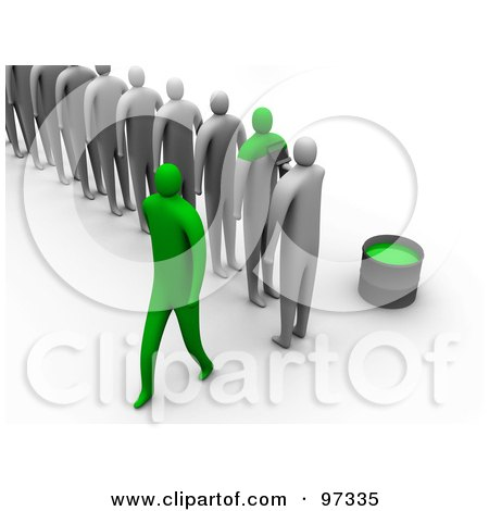 Royalty-Free (RF) Clipart Illustration of a Line Of 3d People Being Painted Green To Become The Same by 3poD