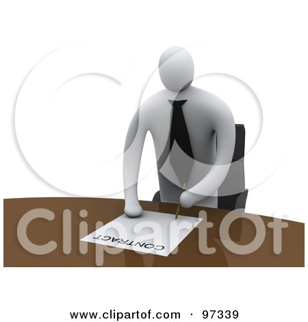 Royalty-Free (RF) Clipart Illustration of a 3d Businessman Standing Over A Table To Sign A Contract by 3poD