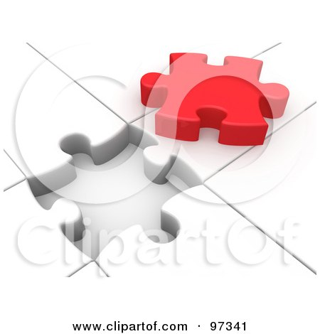 Royalty-Free (RF) Clipart Illustration of a 3d Red Solution Puzzle Piece On Top Of A White Puzzle With An Open Space by 3poD