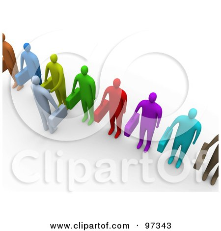 Royalty-Free (RF) Clipart Illustration of an Aerial View Of A 3d Business Man Facing A Line Of Job Applicants Or Employees And Shaking Their Hands by 3poD