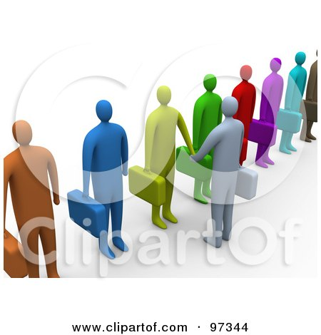 Royalty-Free (RF) Clipart Illustration of a 3d Business Man Facing A Line Of Job Applicants Or Employees And Shaking Their Hands by 3poD