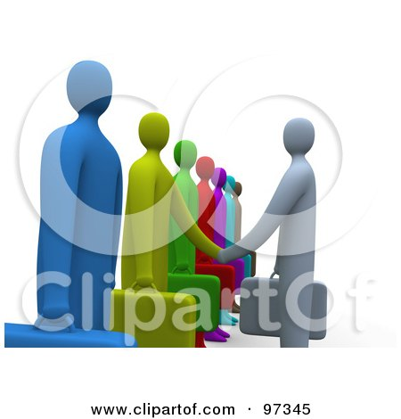 Royalty-Free (RF) Clipart Illustration of a Side View Of A 3d Business Man Facing A Line Of Job Applicants Or Employees And Shaking Their Hands by 3poD