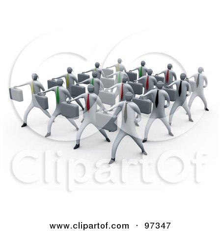 Royalty-Free (RF) Clipart Illustration of 3d Business People Doing Training In A Group by 3poD