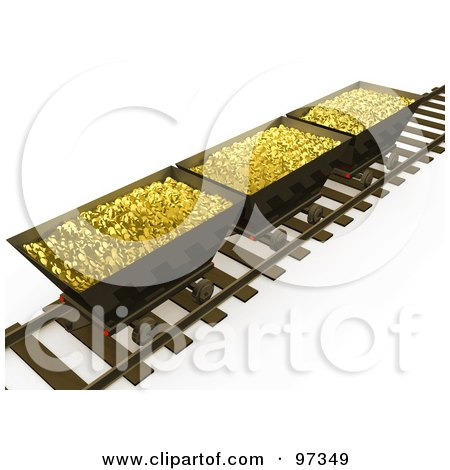 Royalty-Free (RF) Clipart Illustration of Three 3d Mining Bins Of Gold On A Track by 3poD