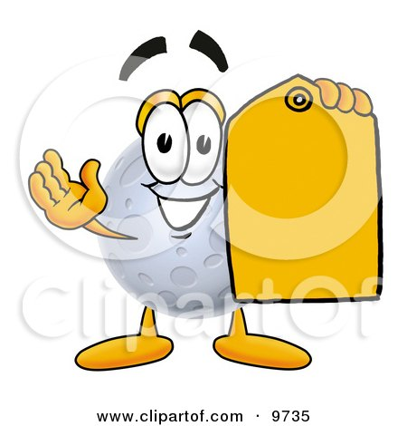 Clipart Picture of a Moon Mascot Cartoon Character Holding a Yellow Sales Price Tag by Toons4Biz