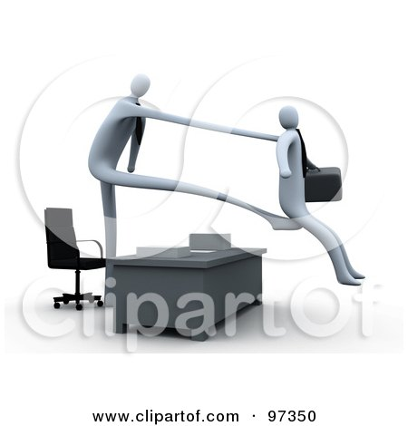 Royalty-Free (RF) Clipart Illustration of a 3d Boss Stretching Out His Arm And Legs Over A Desk To Fire And Kick Out An Employee by 3poD