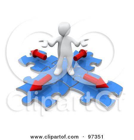 Royalty-Free (RF) Clipart Illustration of a 3d White Person Shrugging On Blue Puzzle Pieces With Arrows Pointing In Different Directions by 3poD