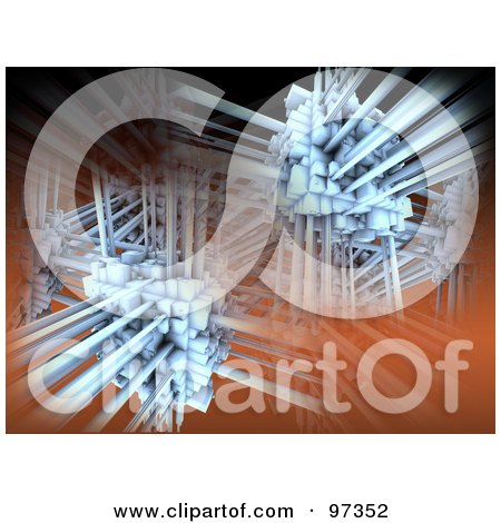 Royalty-Free (RF) Clipart Illustration of a 3d Abstract Network Background by 3poD