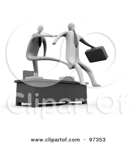 Royalty-Free (RF) Clipart Illustration of a 3d Manager Stretching Out His Arm And Legs Over A Desk To Fire And Kick Out An Employee by 3poD