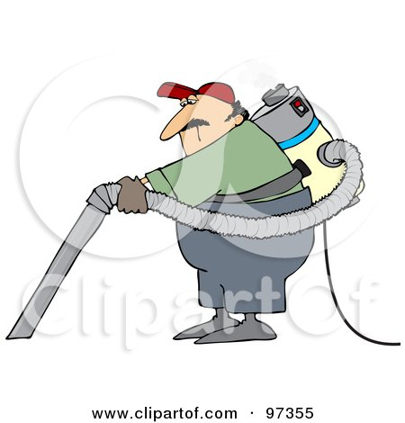 Royalty-Free (RF) Clipart Illustration of a Male Janitor Wearing And Using A Back Vacuum by djart