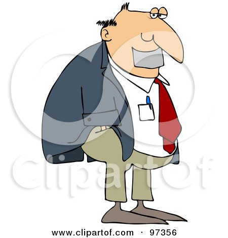 Royalty-Free (RF) Clipart Illustration of a Businessman With Duct Tape Over His Mouth by djart