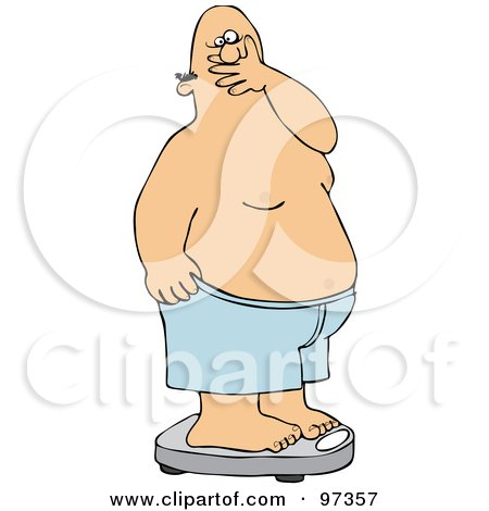 Royalty-Free (RF) Clipart Illustration of a Man Covering His Mouth In Shock After Weighing Himself On A Scale by djart