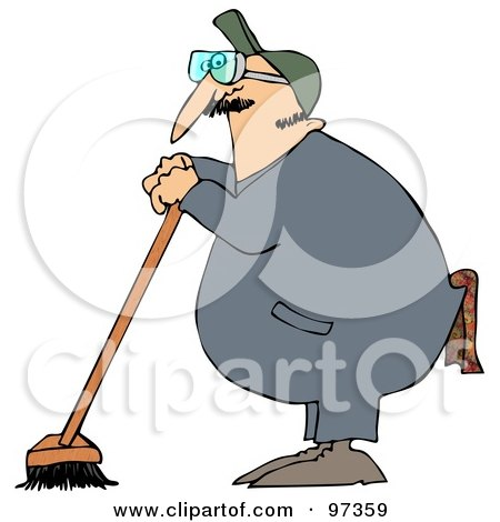 Royalty-Free (RF) Clipart Illustration of an Industrial Janitor Leaning On A Push Broom by djart