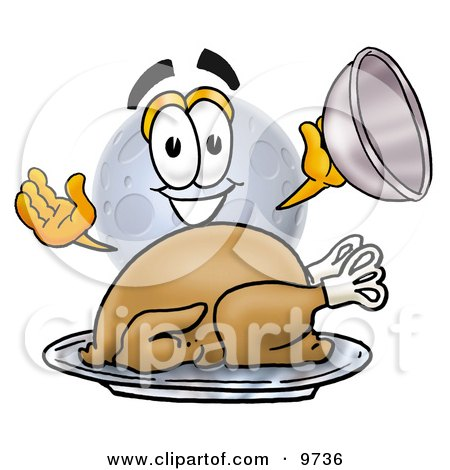 Clipart Picture of a Moon Mascot Cartoon Character Serving a Thanksgiving Turkey on a Platter by Toons4Biz