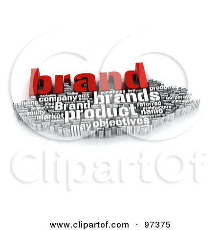 Royalty-Free (RF) Clipart Illustration of a 3d Red And White Branding Word Collage by MacX