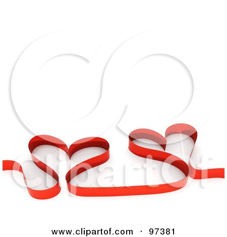 Royalty-Free (RF) Clipart Illustration of a Red Ribbon Forming Two Hearts by MacX