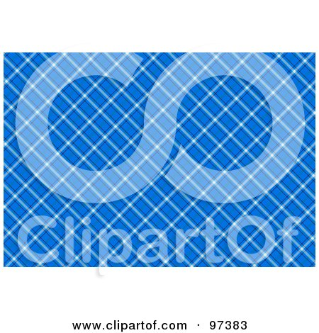 Royalty-Free (RF) Clipart Illustration of a Background Of A Diagonal Blue Plaid Pattern by MacX