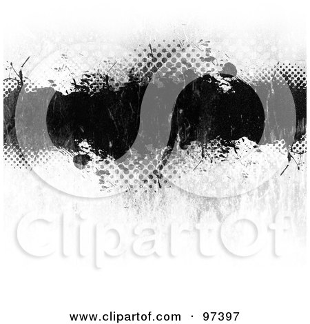 Royalty-Free (RF) Clipart Illustration of a Grungy Black Text Box Over White With Halftone by Arena Creative