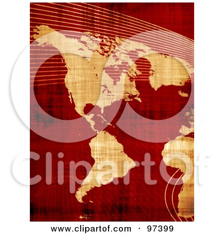 Royalty-Free (RF) Clipart Illustration of a Grungy Parchment Map Of The Americas Over Red With Mesh Waves by Arena Creative