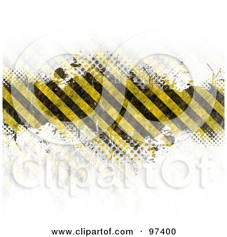 Royalty-Free (RF) Clipart Illustration of a Grungy Hazard Stripes Bar Fading Into White With Halftone by Arena Creative