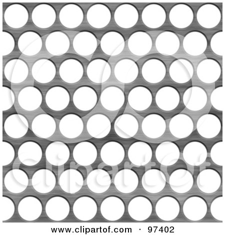 Royalty-Free (RF) Clipart Illustration of a Silver Metal Grid With Large Holes Over White by Arena Creative