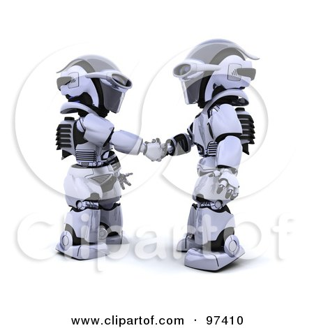 Royalty-Free (RF) Clipart Illustration of 3d Silver Robots Shaking Hands by KJ Pargeter