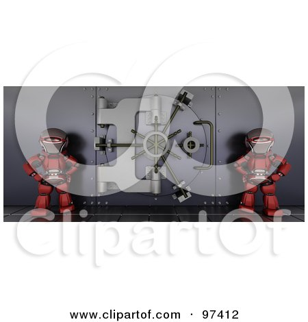 Two 3d Red Robots Guarding A Bank Vault Posters, Art Prints