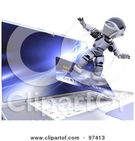 Royalty-Free (RF) Clipart Illustration of a 3d Silver Robot Surfing On A Credit Card Over A Laptop by KJ Pargeter
