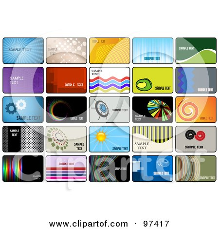 Royalty-Free (RF) Clipart Illustration of a Digital Collage Of Business Card Template Designs by KJ Pargeter