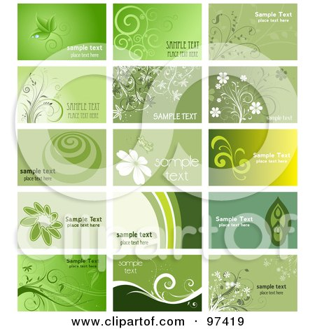 Royalty-Free (RF) Clipart Illustration of a Digital Collage Of Green Floral Business Card Designs by KJ Pargeter