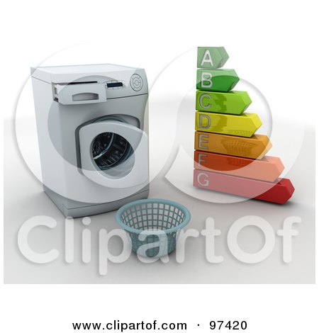 Royalty-Free (RF) Clipart Illustration of a 3d Laundry Basket In Front Of An Open Front Loader Washing Machine With An Energy Rating Chart by KJ Pargeter