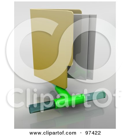 Royalty-Free (RF) Clipart Illustration of a 3d Vertical Computer Network Folder On A Gray Background by KJ Pargeter