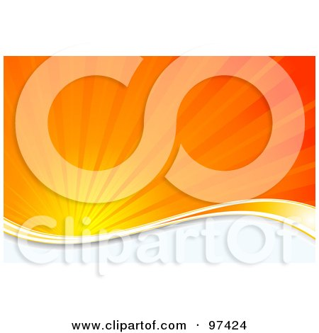 Royalty-Free (RF) Clipart Illustration of a Burst Of Orange Sunshine Over A White Wave by KJ Pargeter