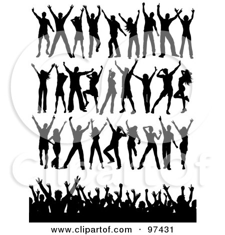 Royalty-Free (RF) Clipart Illustration of a Digital Collage Of Black Silhouetted Dancers In Rows And A Crowd by KJ Pargeter