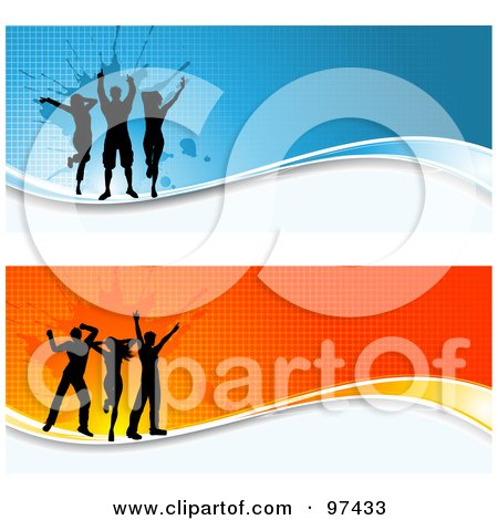 Royalty-Free (RF) Clipart Illustration of Two Grungy Orange And Blue Dancer Website Headers by KJ Pargeter