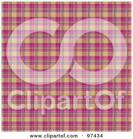 Royalty-Free (RF) Clipart Illustration of a Pink And Tan Plaid Background by KJ Pargeter