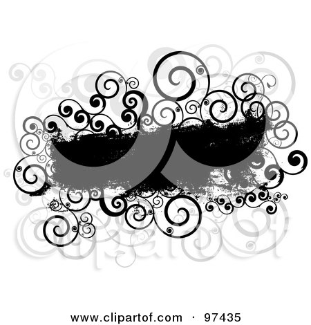 Royalty-Free (RF) Clipart Illustration of a Grungy Black Text Box With Spiral Vines On White by KJ Pargeter
