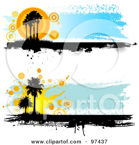 Royalty-Free (RF) Clipart Illustration of Two Grungy Palm Tree Website Headers by KJ Pargeter