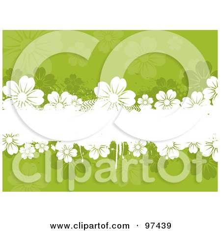 White Grungy Text Box With Flowers Over A Green Floral Background Posters, Art Prints