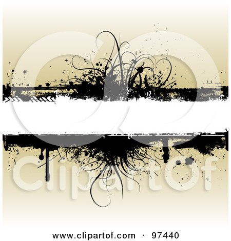 Royalty-Free (RF) Clipart Illustration of a White Text Box With Black Grassy Grunge Over Beige by KJ Pargeter