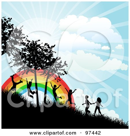 Royalty-Free (RF) Clipart Illustration of Happy Silhouetted Children Running Up A Hillside Near A Rainbow On A Sunny Day by KJ Pargeter