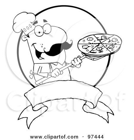 Royalty Free Rf Clipart Illustration Of An Outlined Male Pizzeria