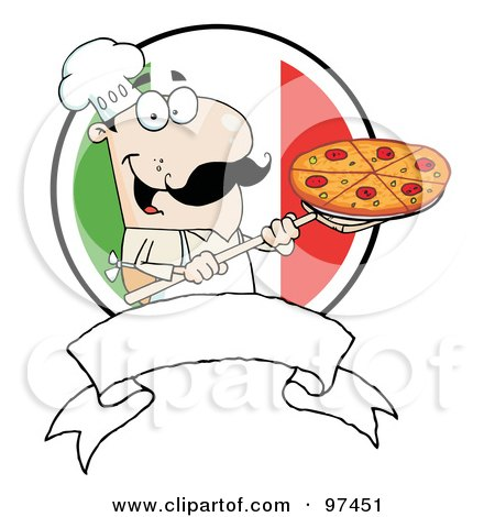 Royalty-Free (RF) Clipart Illustration of a Male Pizzeria Chef Holding A Pizza On A Scooper Above A Blank Banner And Italian Flag by Hit Toon