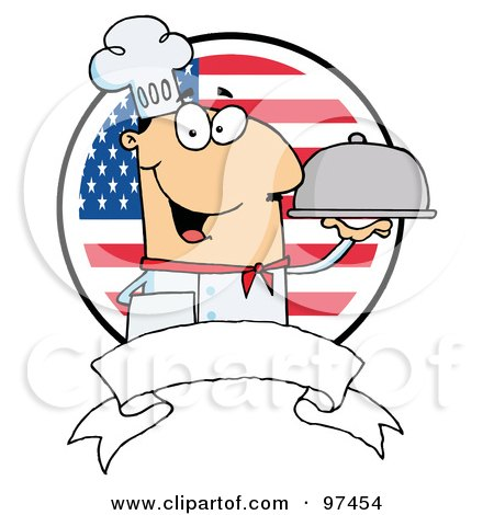 Royalty-Free (RF) Clipart Illustration of a Friendly Male Chef Holding A Platter Over A Blank Banner And Round American Flag by Hit Toon