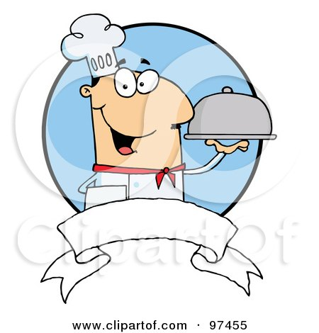 Royalty-Free (RF) Clipart Illustration of a Friendly Male Chef Holding A Platter Over A Blank Banner And Blue Circle by Hit Toon