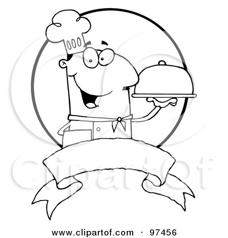 Royalty-Free (RF) Clipart Illustration of an Outlined Friendly Male Chef Holding A Platter Over A Blank Banner And Circle by Hit Toon