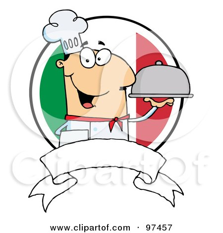 Royalty-Free (RF) Clipart Illustration of a Friendly Male Chef Holding A Platter Over A Blank Banner And Round Italian Flag by Hit Toon