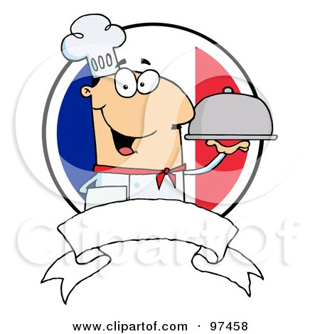 Royalty-Free (RF) Clipart Illustration of a Friendly Male Chef Holding A Platter Over A Blank Banner And Round French Flag by Hit Toon