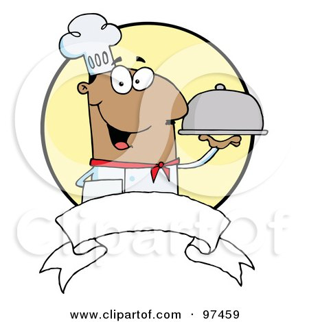 Royalty-Free (RF) Clipart Illustration of a Friendly Male Chef Holding A Platter Over A Blank Banner And Yellow Circle by Hit Toon