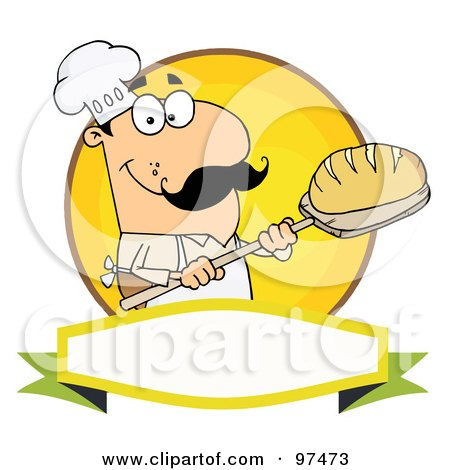 Royalty-Free (RF) Clipart Illustration of a Caucasian Baker Holding Bread Over A Yellow Circle And Blank Banner by Hit Toon